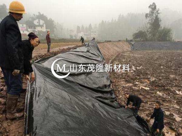 复合土工膜的铺设采用分段施工和流水作业的方
